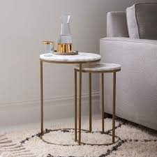 Living Room Side Tables Brass And Marble Nesting Side Tables Pinteres