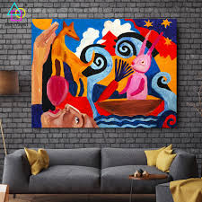 Kids Rooms Painting Abstract Art Dog Bunny Bird Cat Paintings On Canvas Wall Kids Room