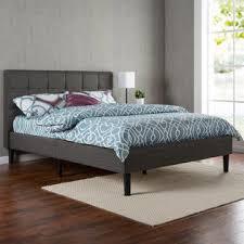greenhome123 grey upholstered platform bed frame with wooden slats