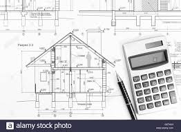 Modern House Drawing by Architectural Drawings Of Modern House With Calculator And Pencil