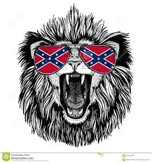 Flag Confederate States Of America Lion Wearing Glasses With National Flag Of The Confederate States