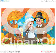 clipart of a happy thanksgiving pilgrim by an autumn farm