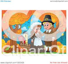 thanksgiving farm clipart of a happy thanksgiving pilgrim couple by an autumn farm