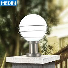 Patio Column Lights Spherical Stainless Steel Column Headlights Waterproof Outdoor