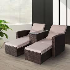 outsunny outdoor garden rattan sofa lounger recliner wicker patio