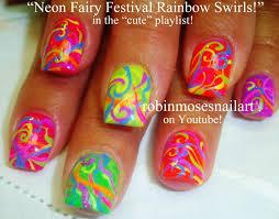 nail art tutoral diy summer neon nails easy rainbow ribbons
