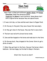 noun town worksheet worksheets parts of speech and english
