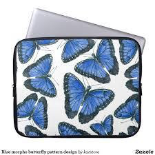 blue morpho butterfly pattern design laptop sleeve zazzle store