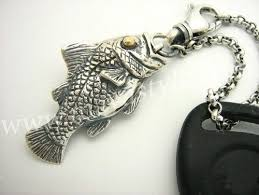 silver fish necklace images Custom sterling silver fish keychain key chain animal jewelry by jpg