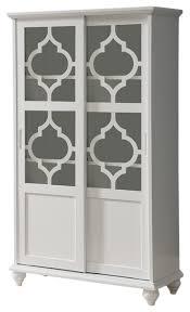 pilaster designs callum wood curio bookcase with sliding glass
