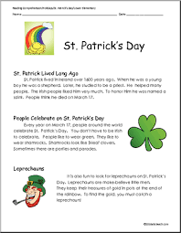 st patrick u0027s day reading comprehension elementary reading