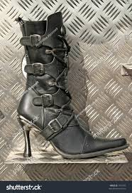 heeled biker boots high heel ladies biker boot on stock photo 1915700 shutterstock