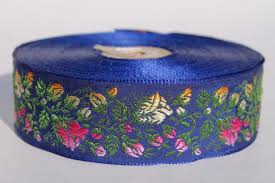 navy blue satin ribbon vintage embroidered satin ribbon sewing trim roses floral pink
