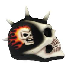 motocross helmet mohawk spiney skull helmet matte black airbrushed