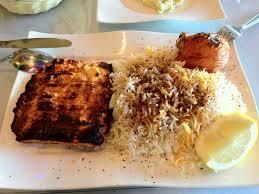 Atlas Mediterranean Kitchen - salmon w rice notice the chunk of serum albumin on the top right