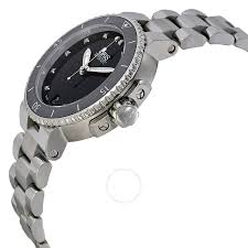oris aquis date black diamond dial stainless steel ladies watch