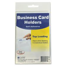clear buisness cards self adhesive business card holders by c line cli70257