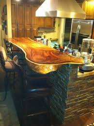 Slab Wood Bar Top Stacked Stone Island With Wood Slab Bar Top Contemporary
