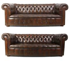 vintage brown leather chesterfield sofas set of 2 for sale at pamono