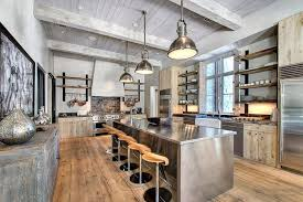 Stainless Steel Pendant Light Fixtures Stylish Industrial Kitchen With Exposed Beams Ceiling And