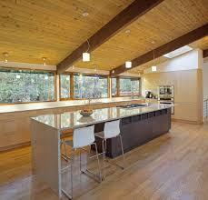 kitchen island breakfast table deck house renovation in chapel
