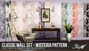 simsational designs classic walls for ts4 wisteria wallpaper