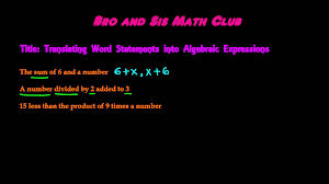 translating verbal expressions into algebraic expressions worksheets translating word statements into algebraic expressions algebra i