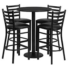 Bar And Stool Sets Amazon Com Flash Furniture 30 U0027 U0027 Round Black Laminate Table Set