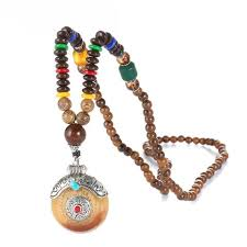 tibetan silver ethnic necklace images Round tibetan silver mala wood beads necklace jpg