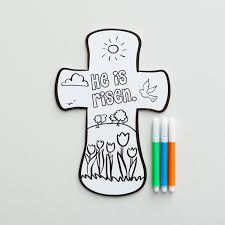 easter he is risen inspirational color your own cross with