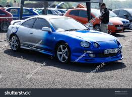 toyota supra modified northants england may 11 blue silver stock photo 75228301