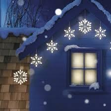 9ct warm white snowflake string lights decor