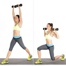 split squat with overhead press dumbbell workout popsugar