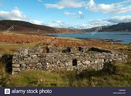ruined croft house in the clearance village of boreraig by loch