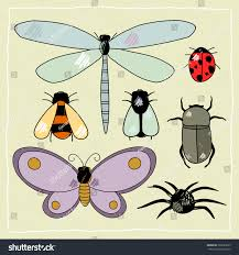 childs drawing insects raster version stock illustration 366023225