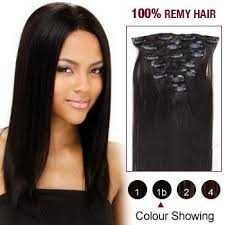 clip in human hair extensions 16 inches 7 pcs on human hair extensions 1b