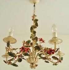 Tole Chandelier Vintage Italian Tole Flower Chandelier Ebay