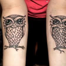 black white owl tattoo owl matching tattoos couple pinterest