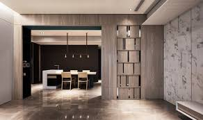 marble wallpaper wood partition and metal scandinavian palette