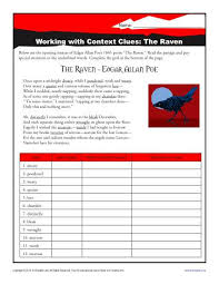 the raven worksheets context clues and the raven