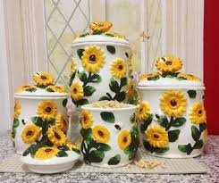sunflower canister sets kitchen sunflowers roosters kitchen collection on ebay