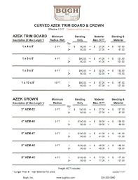 Lumber Price List by Curved Composites U2014 Bugh Inc