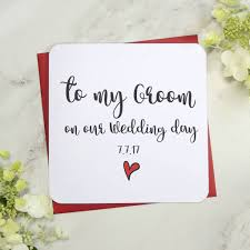 card to groom from on wedding day to my groom on our wedding day card by parsy card co
