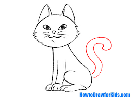 how to draw a cat for kids howtodrawforkids com