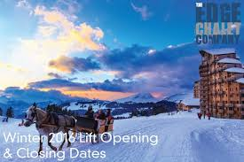 winter 2016 opening and closing dates the edge catered ski