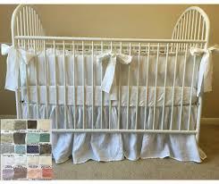 Grey Chevron Crib Bedding Set Crib Bedding Set With Ruffled Bumper Gathered Crib Skirt White