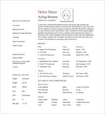 Theatrical Resume Sample by Acting Resume Template U2013 8 Free Word Excel Pdf Format Download