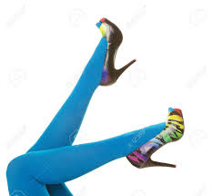 bright turquoise blue nylon stockings paired with rainbow colored