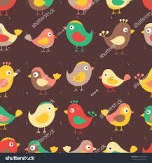 hand drawn seamless pattern cute birds stock vector 322146965