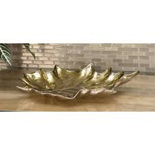 Gray And Gold 17 In X 3 In Modern Glass Gray And Gold Leaf Bowls Set Of 2